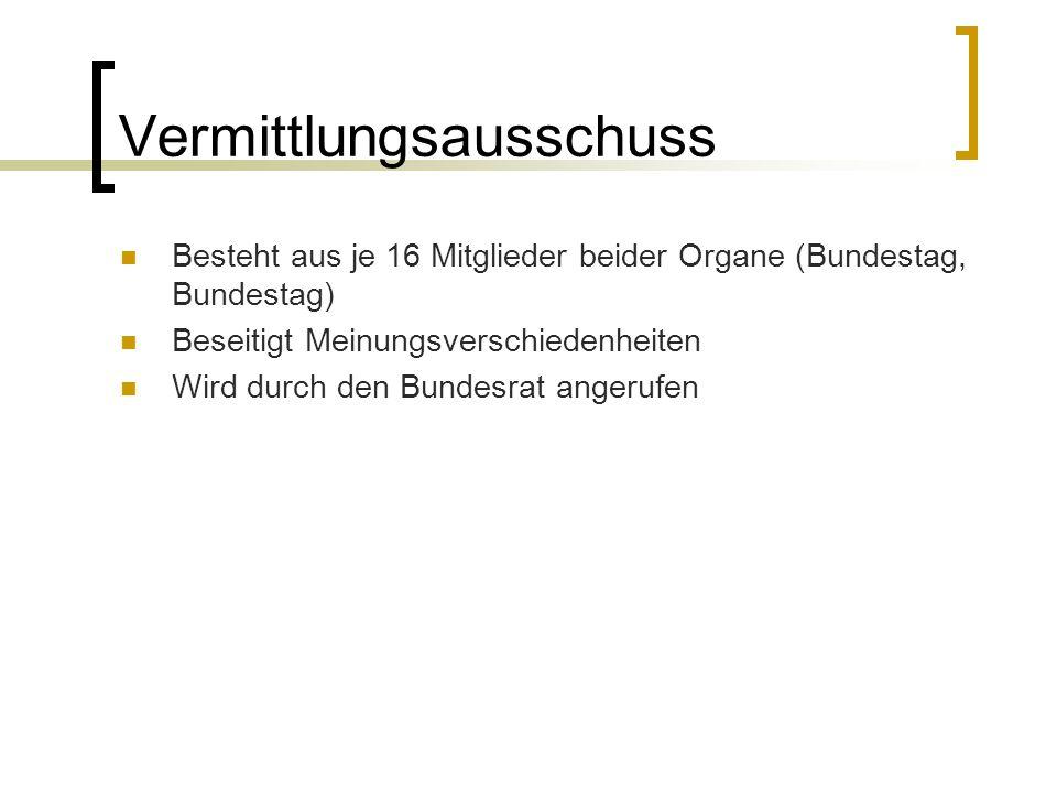Vermittlungsausschuss Besteht aus je 16 Mitglieder beider Organe (Bundestag, Bundestag) Beseitigt Meinungsverschiedenheiten Wird durch den Bundesrat a