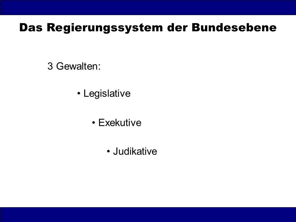 Das Regierungssystem der Bundesebene 3 Gewalten: Legislative Exekutive Judikative