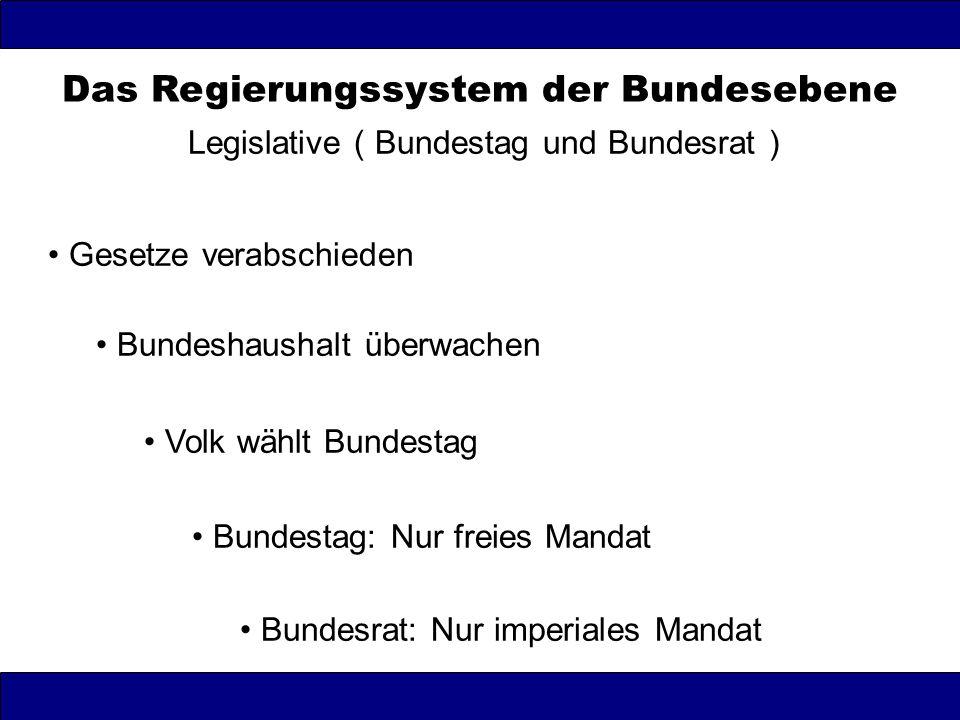 Das Regierungssystem der Bundesebene Legislative ( Bundestag und Bundesrat ) Gesetze verabschieden Bundeshaushalt überwachen Volk wählt Bundestag Bund
