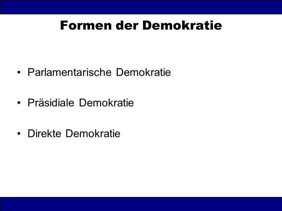 Formen der Demokratie Parlamentarische Demokratie Präsidiale Demokratie Direkte Demokratie