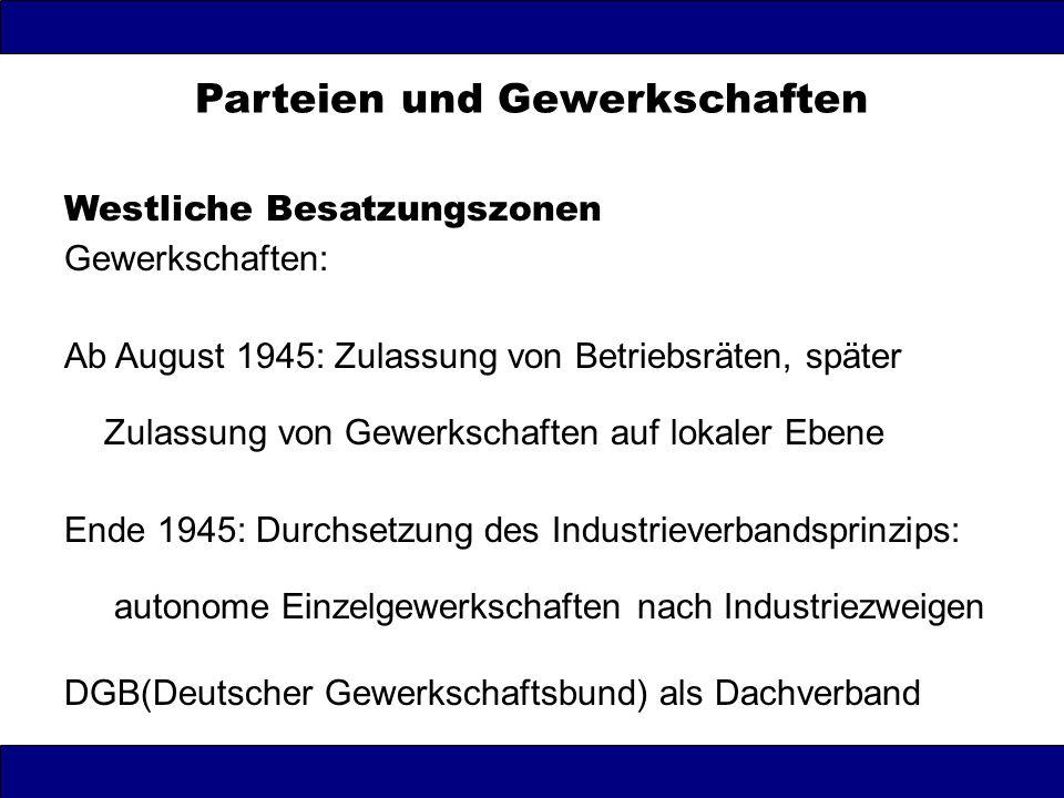 Parteien und Gewerkschaften Sowjetische Besatzungszone Gewerkschaften: Februar 1946 Gründung des FDGB : gewerkschaftliche Einheitsorganisation unter Führung kommunistischer Betriebsgruppen ab 1947 politisches Instrument der SED zur Beeinflussung der Massen und zur Kontrolle der Betriebe