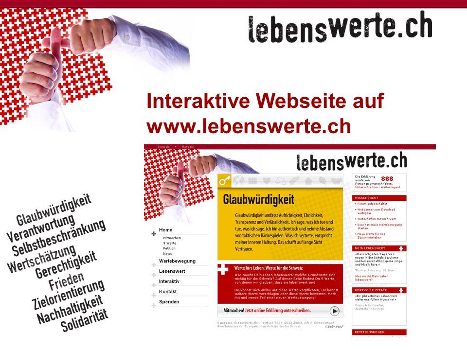 Interaktive Webseite auf www.lebenswerte.ch
