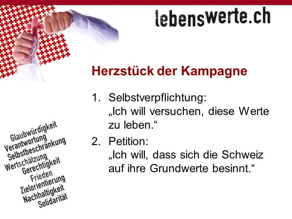 """Herzstück der Kampagne 1.Selbstverpflichtung: """"Ich will versuchen, diese Werte zu leben."""" 2.Petition: """"Ich will, dass sich die Schweiz auf ihre Grundw"""
