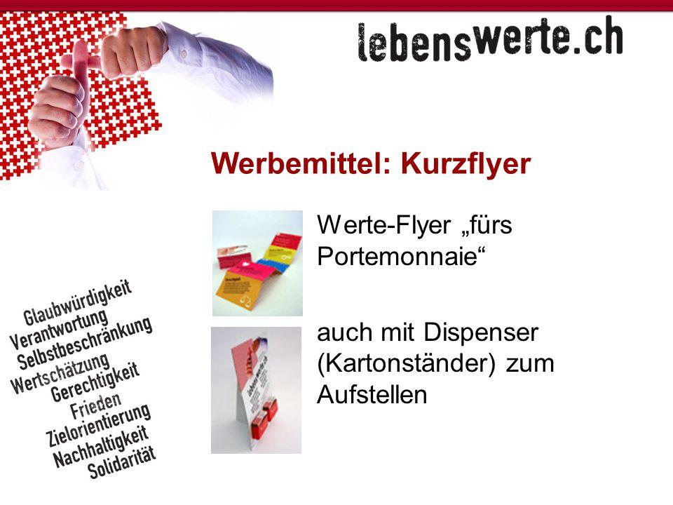 """Werbemittel: Kurzflyer Werte-Flyer """"fürs Portemonnaie"""" auch mit Dispenser (Kartonständer) zum Aufstellen"""