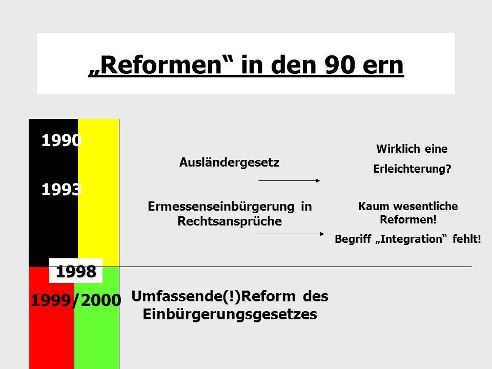"""""""Reformen"""" in den 90 ern Ausländergesetz Ermessenseinbürgerung in Rechtsansprüche Umfassende(!)Reform des Einbürgerungsgesetzes 1990 1993 1990 1998 19"""
