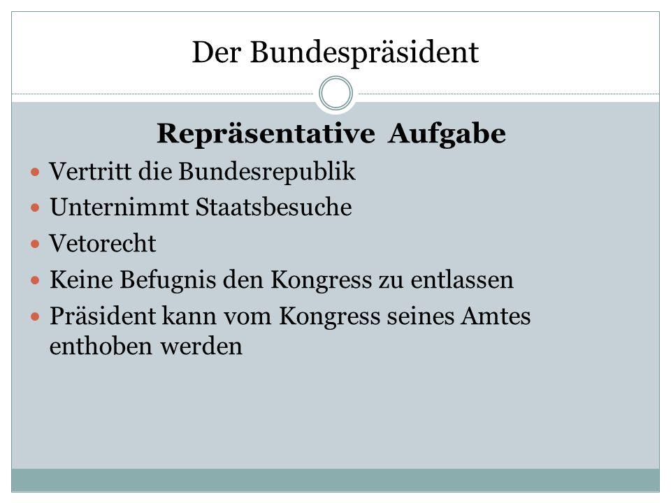 Der Bundespräsident Repräsentative Aufgabe Vertritt die Bundesrepublik Unternimmt Staatsbesuche Vetorecht Keine Befugnis den Kongress zu entlassen Prä