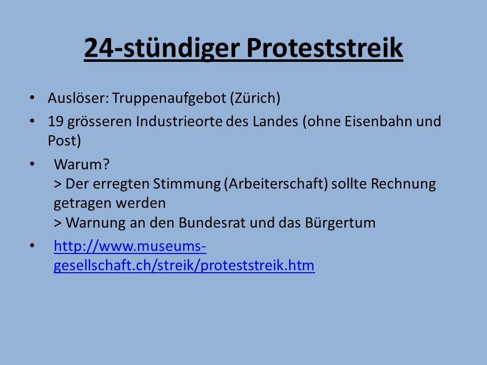 24-stündiger Proteststreik Auslöser: Truppenaufgebot (Zürich) 19 grösseren Industrieorte des Landes (ohne Eisenbahn und Post) Warum.