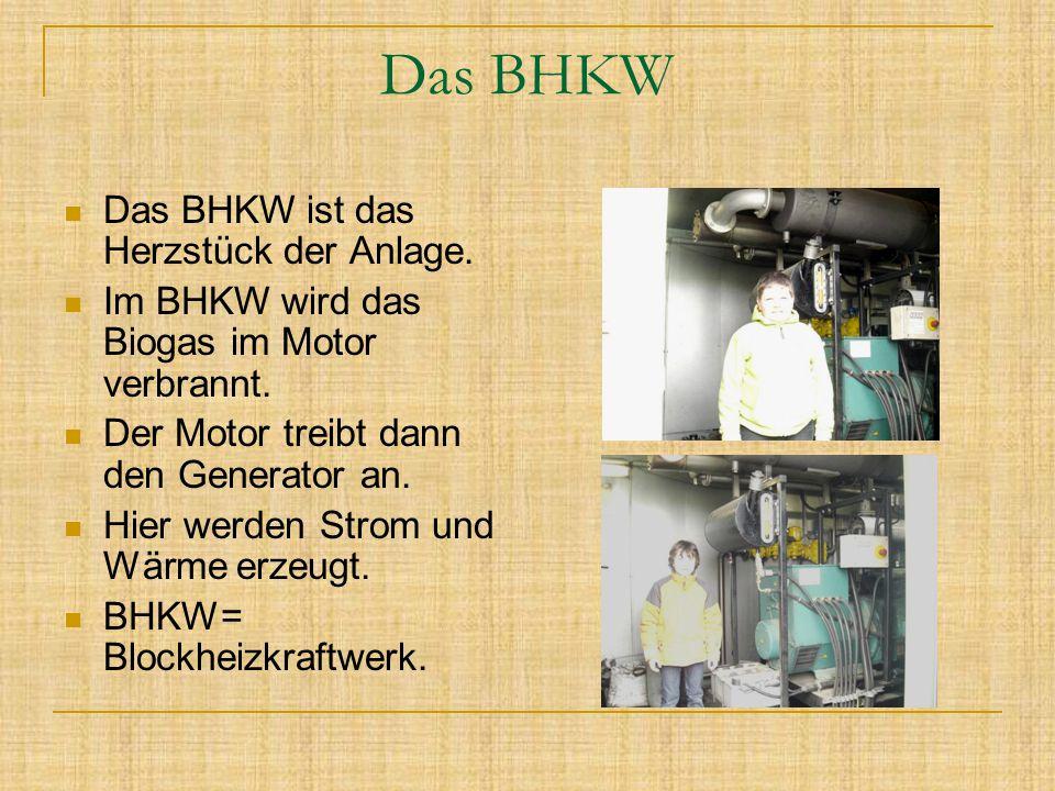 Das BHKW Das BHKW ist das Herzstück der Anlage. Im BHKW wird das Biogas im Motor verbrannt. Der Motor treibt dann den Generator an. Hier werden Strom