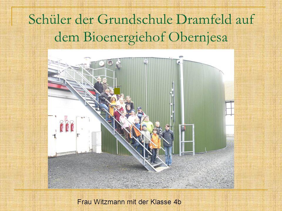 Schüler der Grundschule Dramfeld auf dem Bioenergiehof Obernjesa Frau Witzmann mit der Klasse 4b