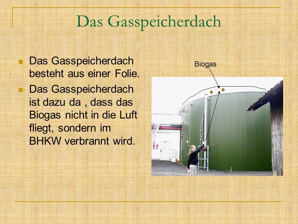 Das Gasspeicherdach Das Gasspeicherdach besteht aus einer Folie. Das Gasspeicherdach ist dazu da, dass das Biogas nicht in die Luft fliegt, sondern im