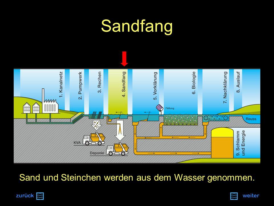 Sandfang Sand und Steinchen werden aus dem Wasser genommen.
