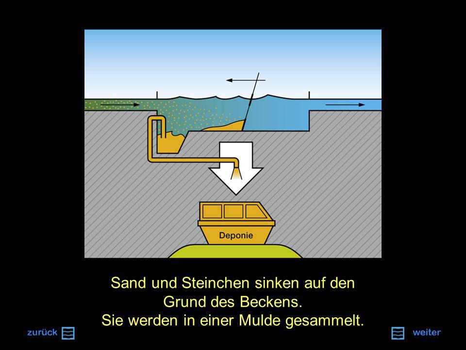 Sand und Steinchen sinken auf den Grund des Beckens. Sie werden in einer Mulde gesammelt.