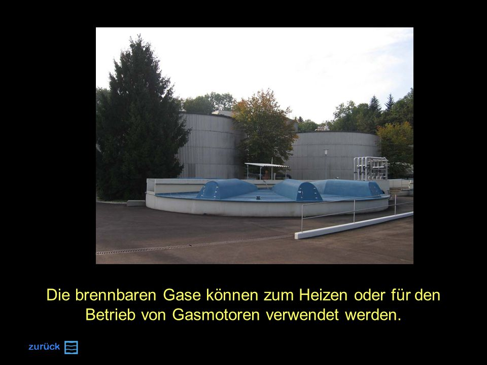 Die brennbaren Gase können zum Heizen oder für den Betrieb von Gasmotoren verwendet werden.