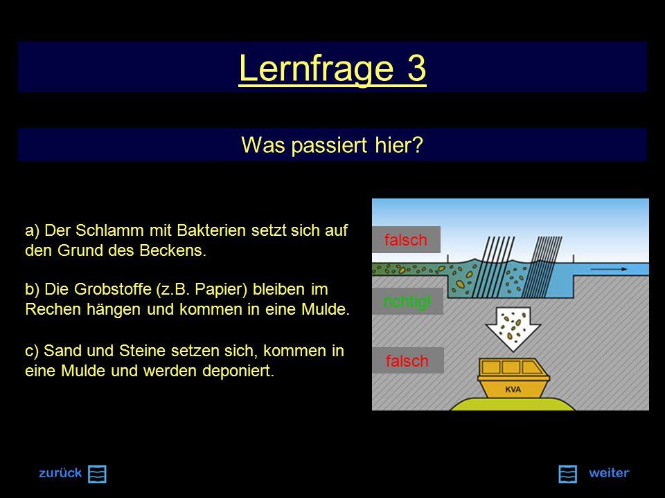 Lernfrage 3 Was passiert hier.a) Der Schlamm mit Bakterien setzt sich auf den Grund des Beckens.