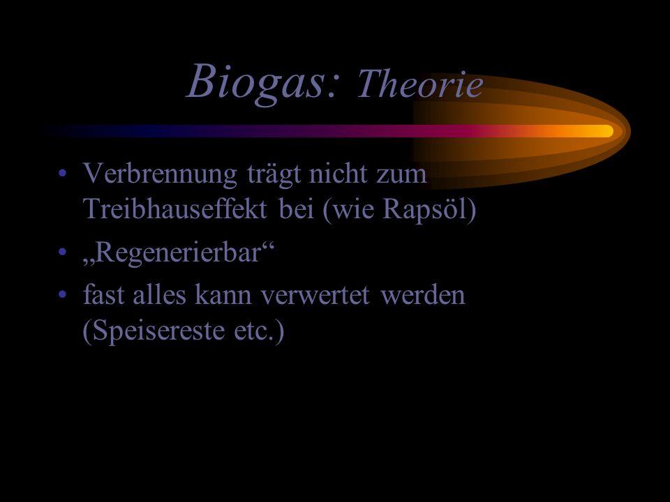 """Biogas: Theorie Verbrennung trägt nicht zum Treibhauseffekt bei (wie Rapsöl) """"Regenerierbar"""" fast alles kann verwertet werden (Speisereste etc.)"""