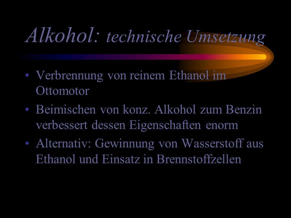 Alkohol: technische Umsetzung Verbrennung von reinem Ethanol im Ottomotor Beimischen von konz. Alkohol zum Benzin verbessert dessen Eigenschaften enor