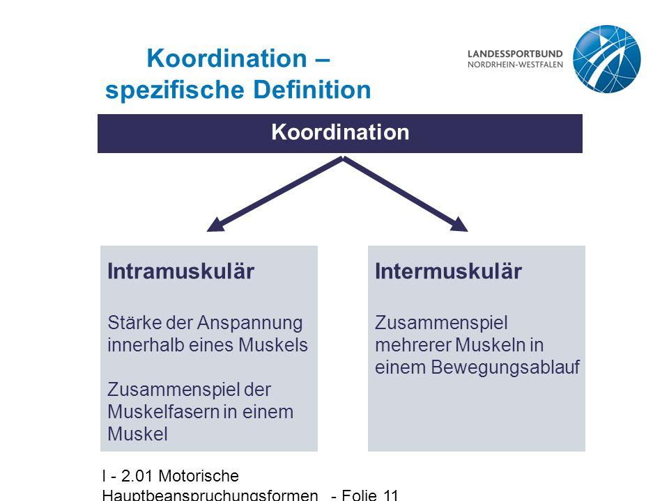 I - 2.01 Motorische Hauptbeanspruchungsformen - Folie 11 Koordination – spezifische Definition Koordination Intermuskulär Zusammenspiel mehrerer Muske