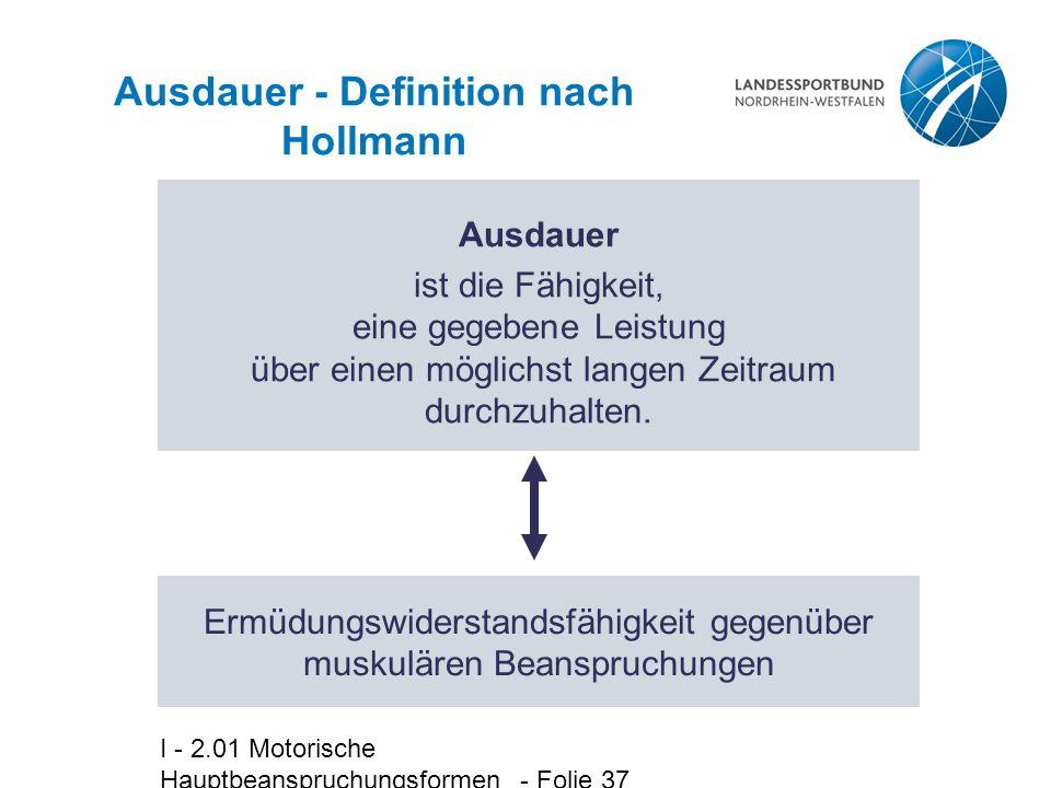 I - 2.01 Motorische Hauptbeanspruchungsformen - Folie 37 Ausdauer - Definition nach Hollmann Ausdauer ist die Fähigkeit, eine gegebene Leistung über e