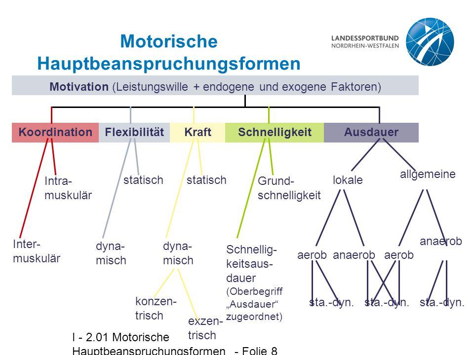 I - 2.01 Motorische Hauptbeanspruchungsformen - Folie 8 Motorische Hauptbeanspruchungsformen Motivation (Leistungswille + endogene und exogene Faktore