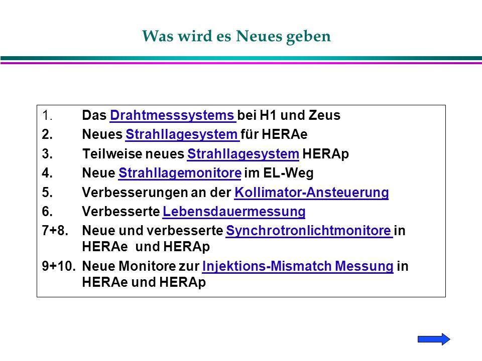 Was wird es Neues geben 1. Das Drahtmesssystems bei H1 und ZeusDrahtmesssystems 2.