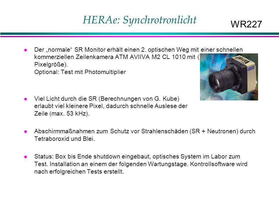 """HERAe: Synchrotronlicht Der """"normale SR Monitor erhält einen 2."""