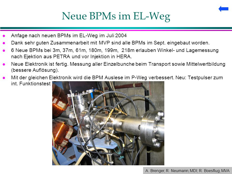 Neue BPMs im EL-Weg l Anfage nach neuen BPMs im EL-Weg im Juli 2004 l Dank sehr guten Zusammenarbeit mit MVP sind alle BPMs im Sept.