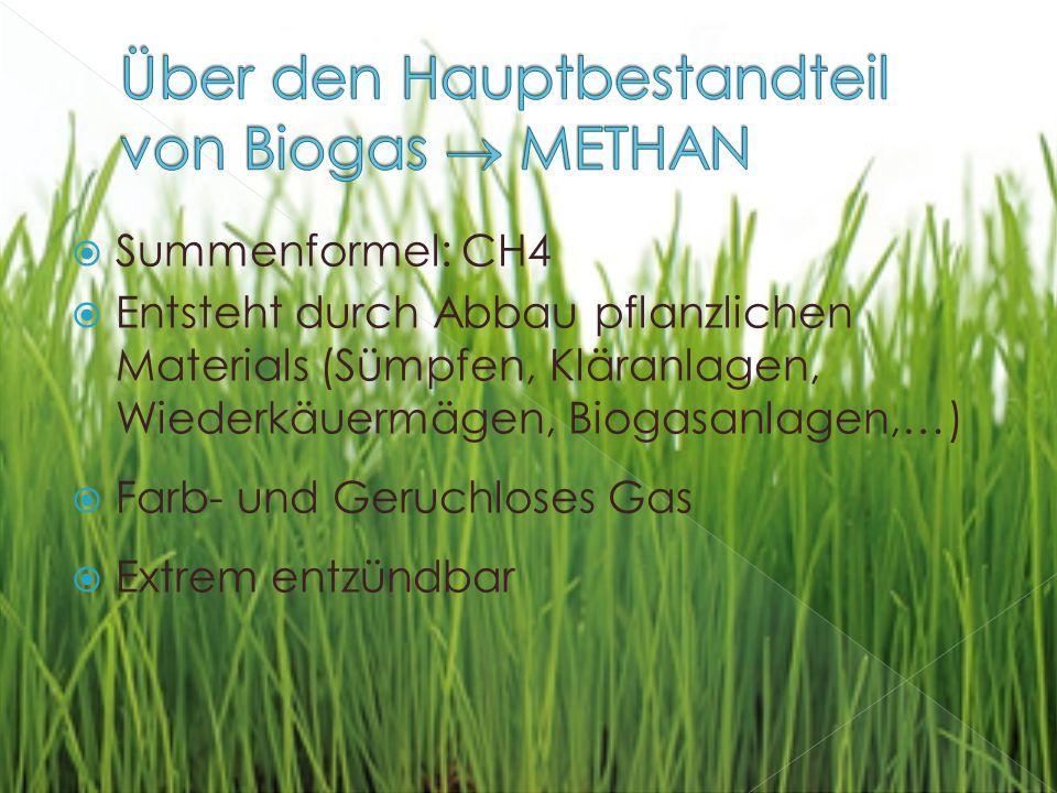  Summenformel: CH4  Entsteht durch Abbau pflanzlichen Materials (Sümpfen, Kläranlagen, Wiederkäuermägen, Biogasanlagen,…)  Farb- und Geruchloses Gas  Extrem entzündbar