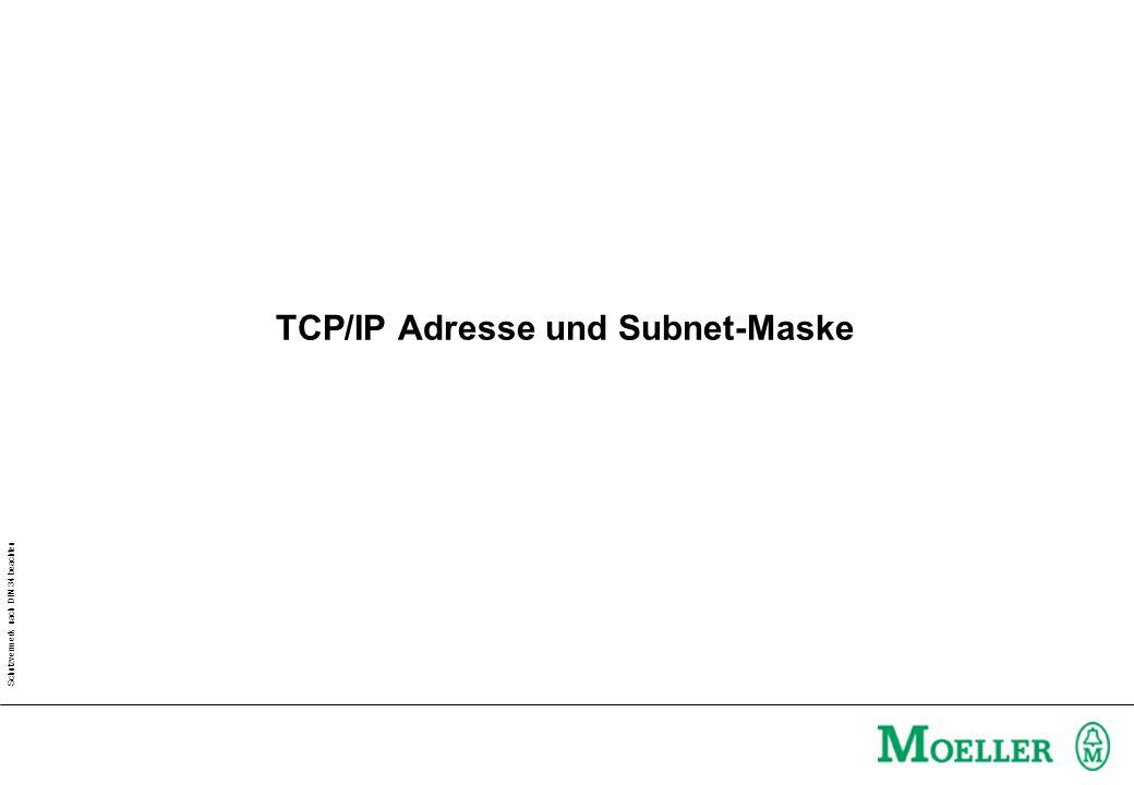 Schutzvermerk nach DIN 34 beachten TCP/IP Adresse und Subnet-Maske