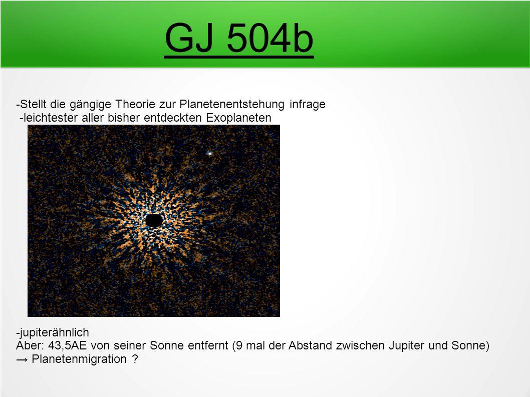 GJ 504b -Stellt die gängige Theorie zur Planetenentstehung infrage -leichtester aller bisher entdeckten Exoplaneten -jupiterähnlich Aber: 43,5AE von s