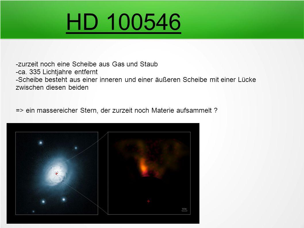 HD 100546 -zurzeit noch eine Scheibe aus Gas und Staub -ca. 335 Lichtjahre entfernt -Scheibe besteht aus einer inneren und einer äußeren Scheibe mit e
