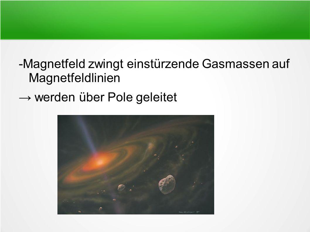 -Magnetfeld zwingt einstürzende Gasmassen auf Magnetfeldlinien → werden über Pole geleitet