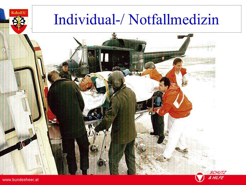 ÖSTERREICHISCHES BUNDESHEER KOMMANDO EINSATZUNTERSTÜTZUNG Militärisches Gesundheitswesen Individual-/ Notfallmedizin