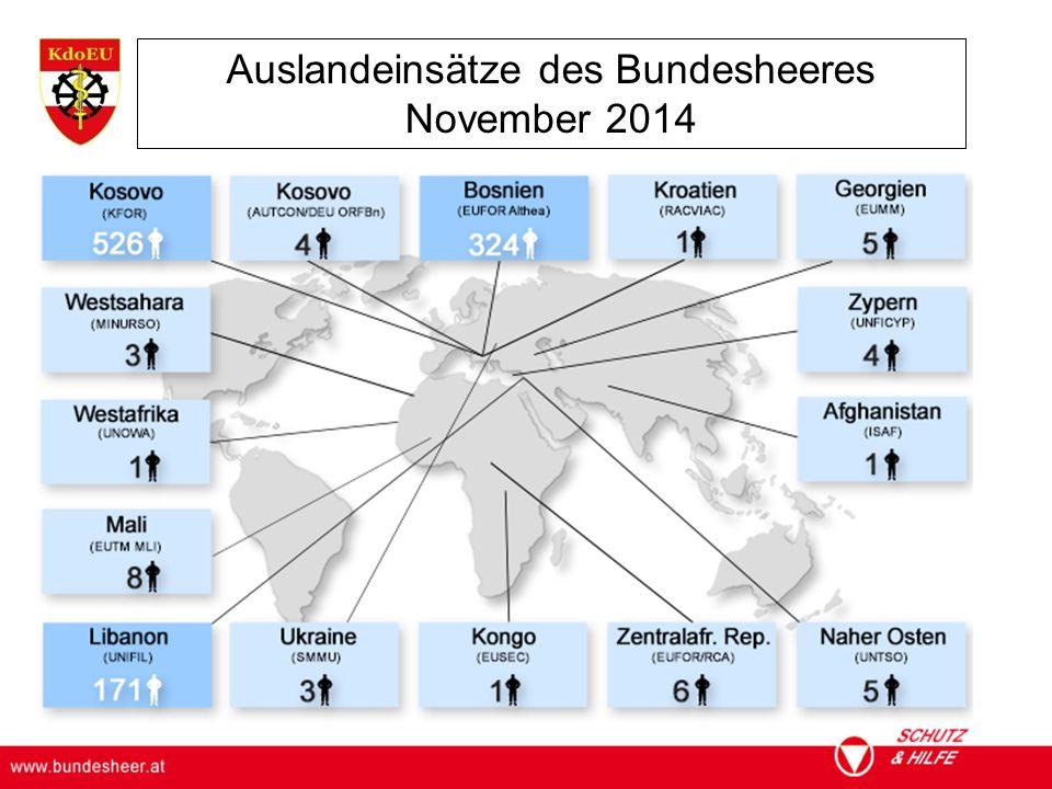 ÖSTERREICHISCHES BUNDESHEER KOMMANDO EINSATZUNTERSTÜTZUNG Militärisches Gesundheitswesen Auslandeinsätze des Bundesheeres November 2014