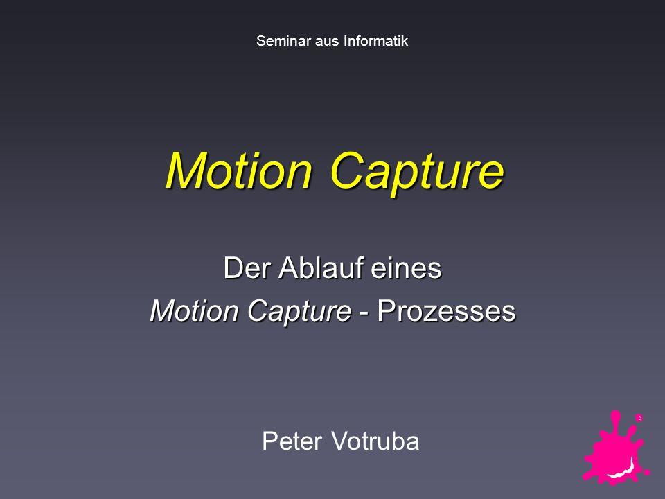 Peter VotrubaSeminar aus Informatik: Motion Capture 2 / 22 Überblick über Vortrag 1.Einleitung 2.Ablauf: n Vorbereitung n Aufnahme n Nachbearbeitung 3.Forschungsziele 4.Beispiel: Vicon 8