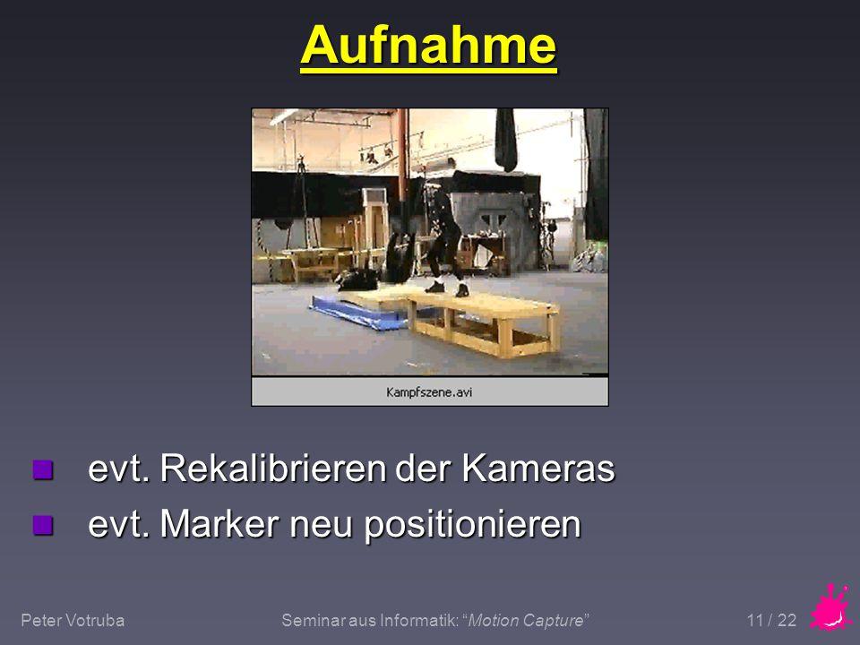 """Peter VotrubaSeminar aus Informatik: """"Motion Capture"""" 11 / 22 Aufnahme n evt. Rekalibrieren der Kameras n evt. Marker neu positionieren"""