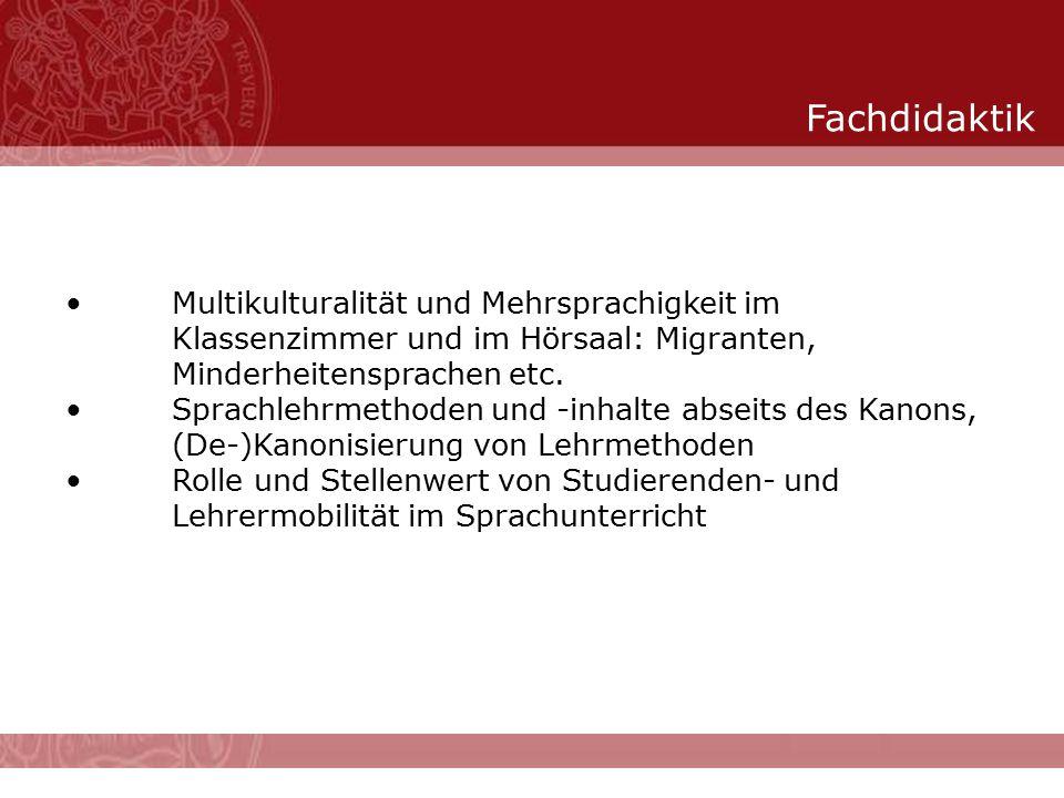 Fachdidaktik Multikulturalität und Mehrsprachigkeit im Klassenzimmer und im Hörsaal: Migranten, Minderheitensprachen etc.