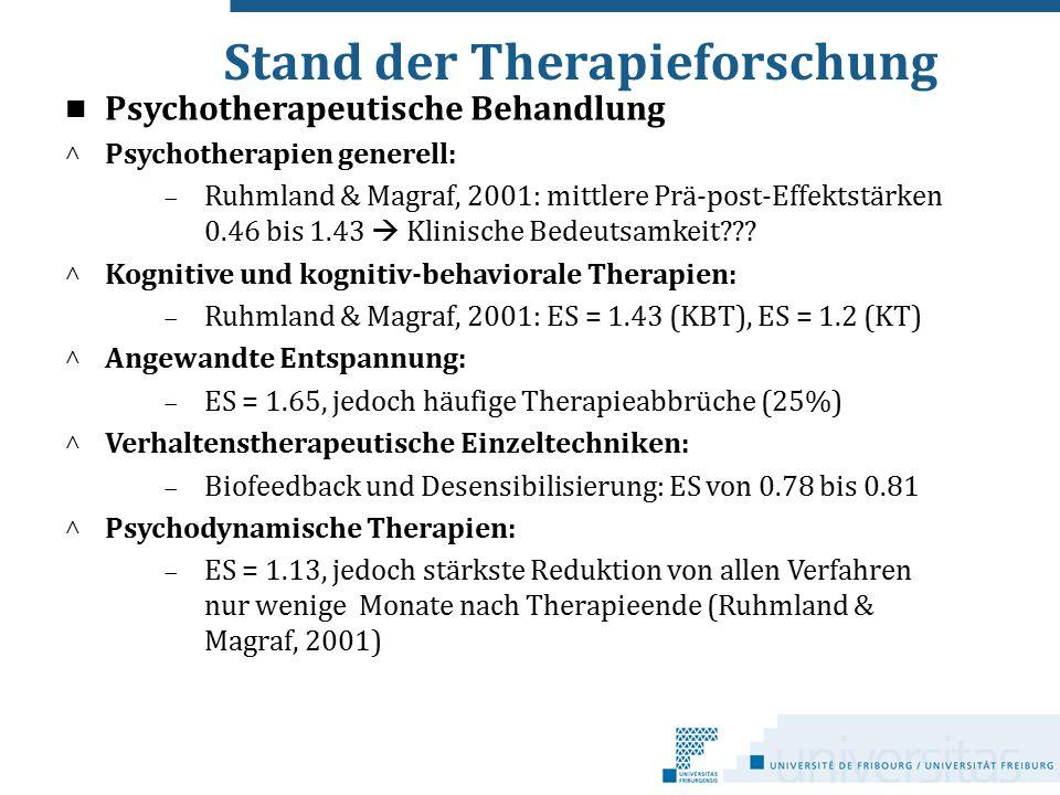 Stand der Therapieforschung Psychotherapeutische Behandlung ^ Psychotherapien generell:  Ruhmland & Magraf, 2001: mittlere Prä-post-Effektstärken 0.4