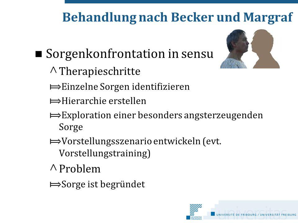 Sorgenkonfrontation in sensu ^ Therapieschritte ⟾Einzelne Sorgen identifizieren ⟾Hierarchie erstellen ⟾Exploration einer besonders angsterzeugenden So
