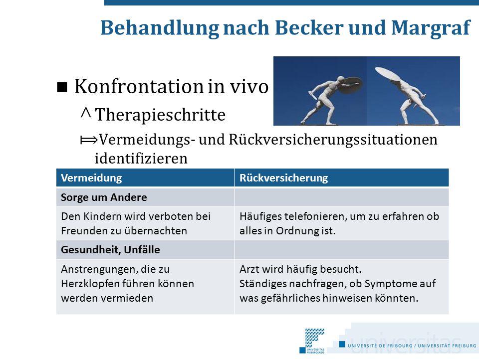 Behandlung nach Becker und Margraf Konfrontation in vivo ^ Therapieschritte ⟾Vermeidungs- und Rückversicherungssituationen identifizieren VermeidungRü