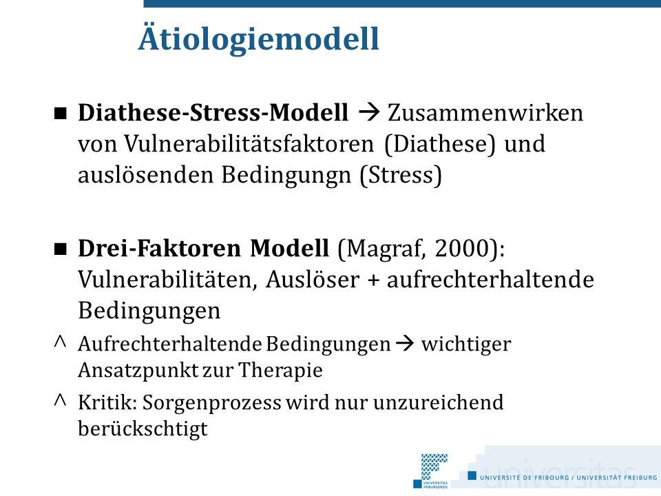 Ätiologiemodell Diathese-Stress-Modell  Zusammenwirken von Vulnerabilitätsfaktoren (Diathese) und auslösenden Bedingungn (Stress) Drei-Faktoren Model