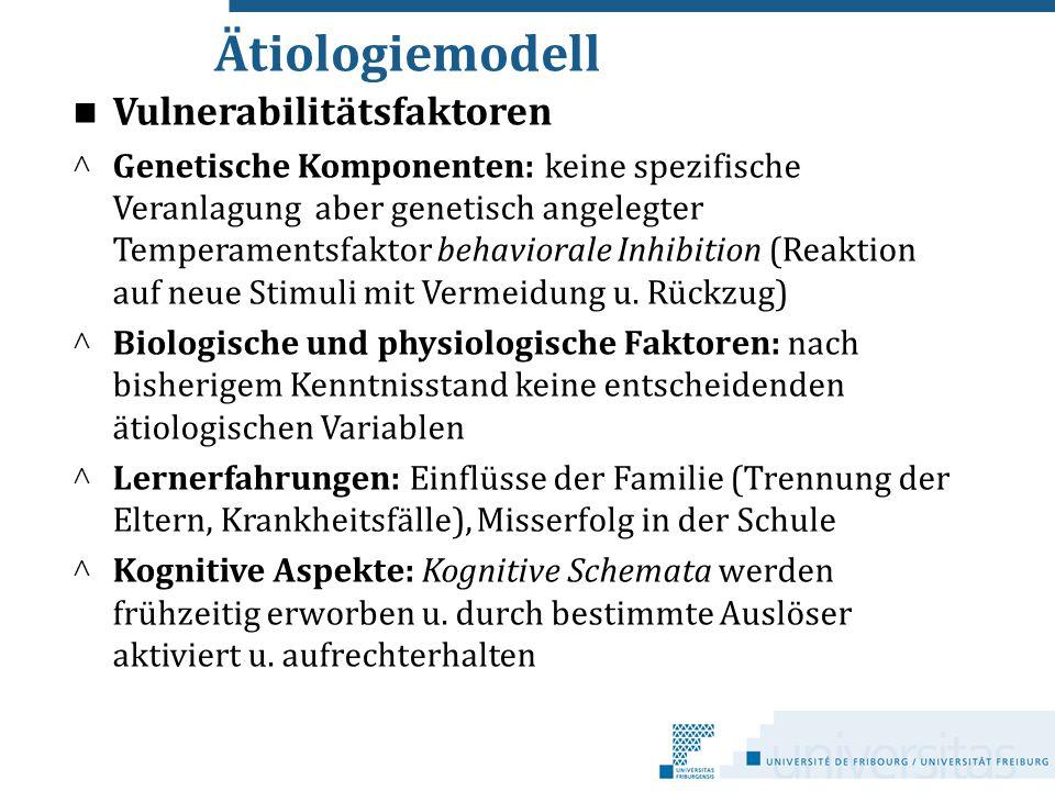 Ätiologiemodell Vulnerabilitätsfaktoren ^ Genetische Komponenten: keine spezifische Veranlagung aber genetisch angelegter Temperamentsfaktor behaviora