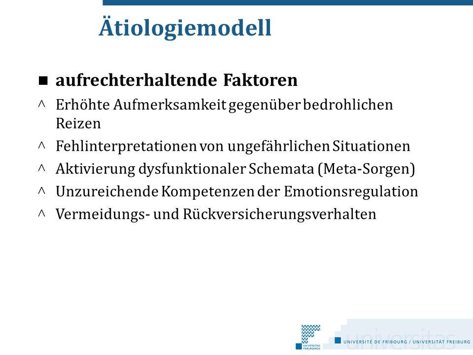 Ätiologiemodell aufrechterhaltende Faktoren ^ Erhöhte Aufmerksamkeit gegenüber bedrohlichen Reizen ^ Fehlinterpretationen von ungefährlichen Situation