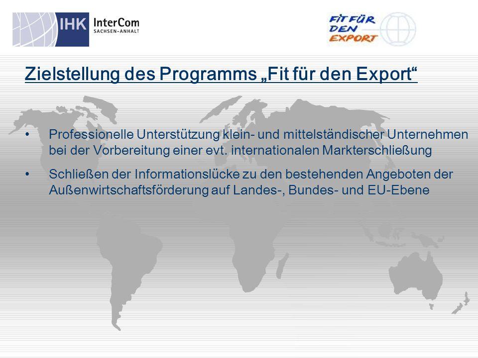 """Zielstellung des Programms """"Fit für den Export Professionelle Unterstützung klein- und mittelständischer Unternehmen bei der Vorbereitung einer evt."""