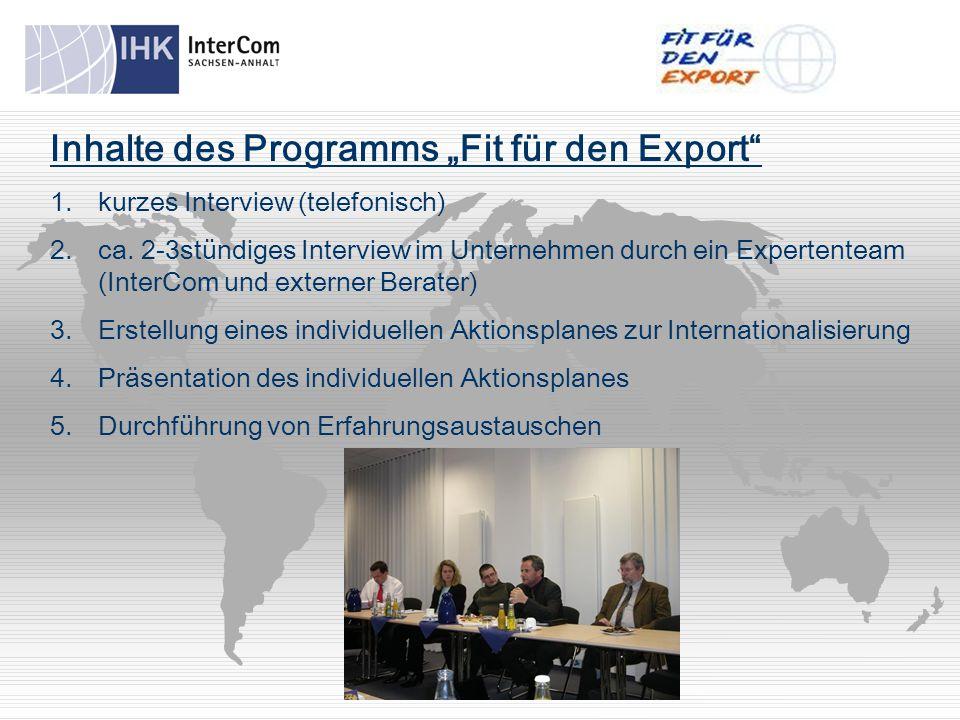 """Inhalte des Programms """"Fit für den Export 1.kurzes Interview (telefonisch) 2.ca."""