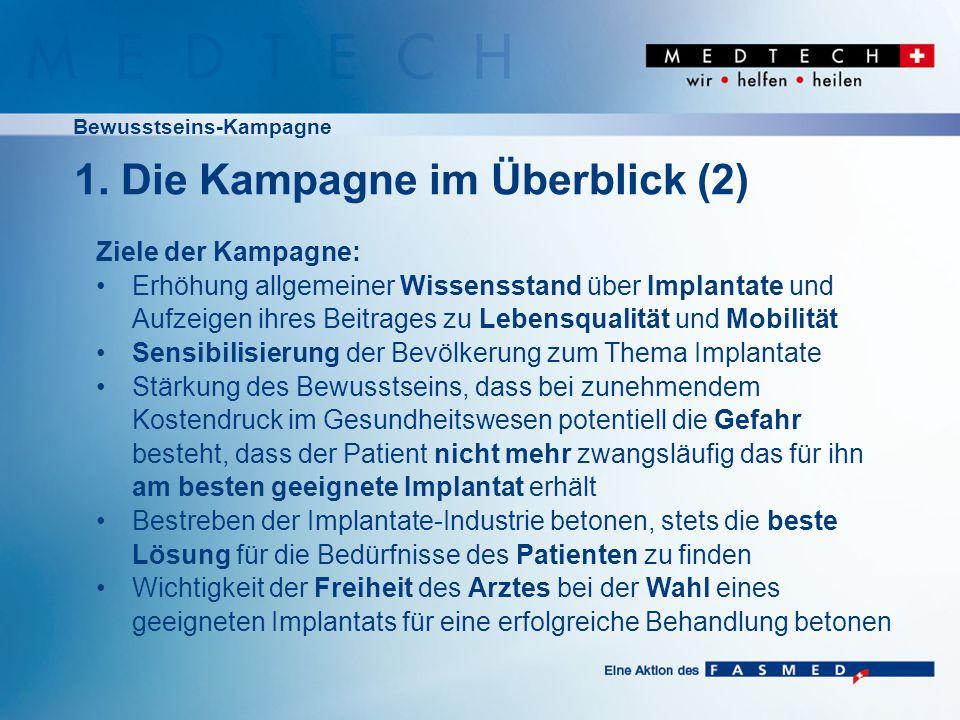 """Bewusstseins-Kampagne Zeitliche Abstimmung auf Einführung SwissDRG ab 2012 Unabhängig davon, wie Bestrebungen des FASMED hinsichtlich Ausgestaltung von SwissDRG laufen: Patienten sollen sich frühzeitig mit dem Thema """"Implantate befassen Fokus auf Sektoren: Kardiologie/ Orthopädie/ Ophthalmologie 1."""