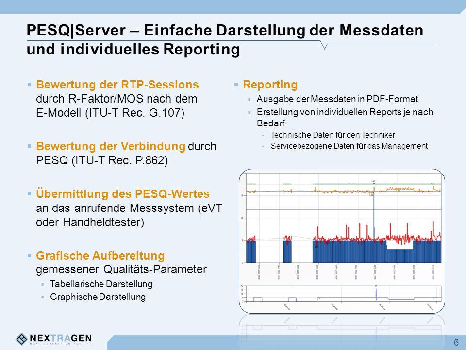 PESQ|Server – Einfache Darstellung der Messdaten und individuelles Reporting  Bewertung der RTP-Sessions durch R-Faktor/MOS nach dem E-Modell (ITU-T Rec.