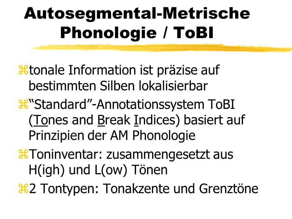 """Autosegmental-Metrische Phonologie / ToBI ztonale Information ist präzise auf bestimmten Silben lokalisierbar z""""Standard""""-Annotationssystem ToBI (Tone"""