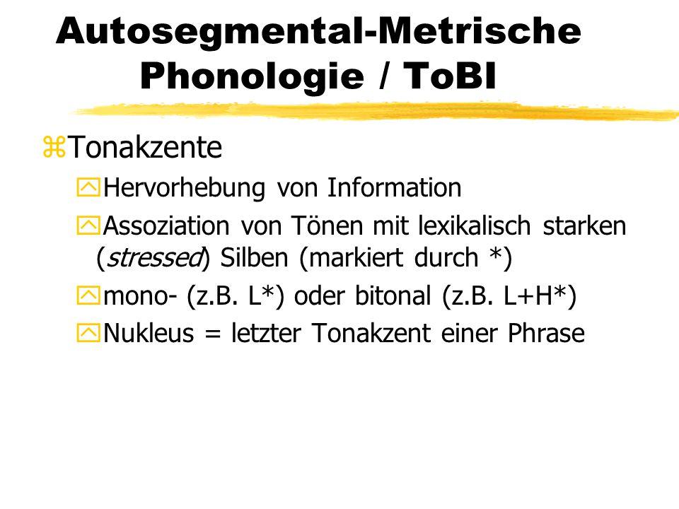 Autosegmental-Metrische Phonologie / ToBI zTonakzente yHervorhebung von Information yAssoziation von Tönen mit lexikalisch starken (stressed) Silben (