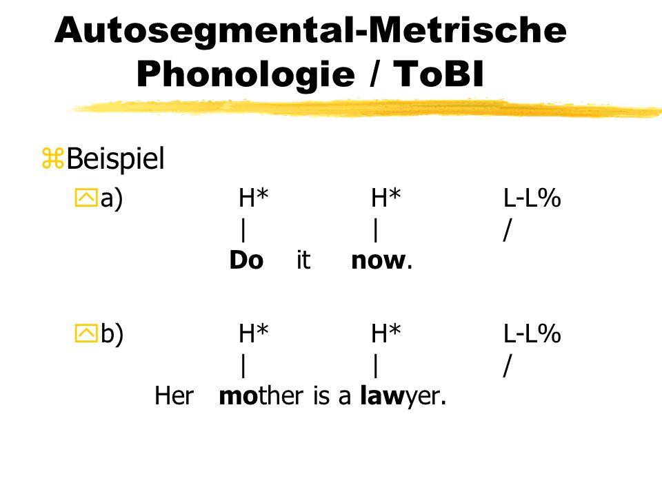 Autosegmental-Metrische Phonologie / ToBI zBeispiel ya)H*H*L-L% ||/ Do it now. yb)H*H*L-L% ||/ Her mother is a lawyer.