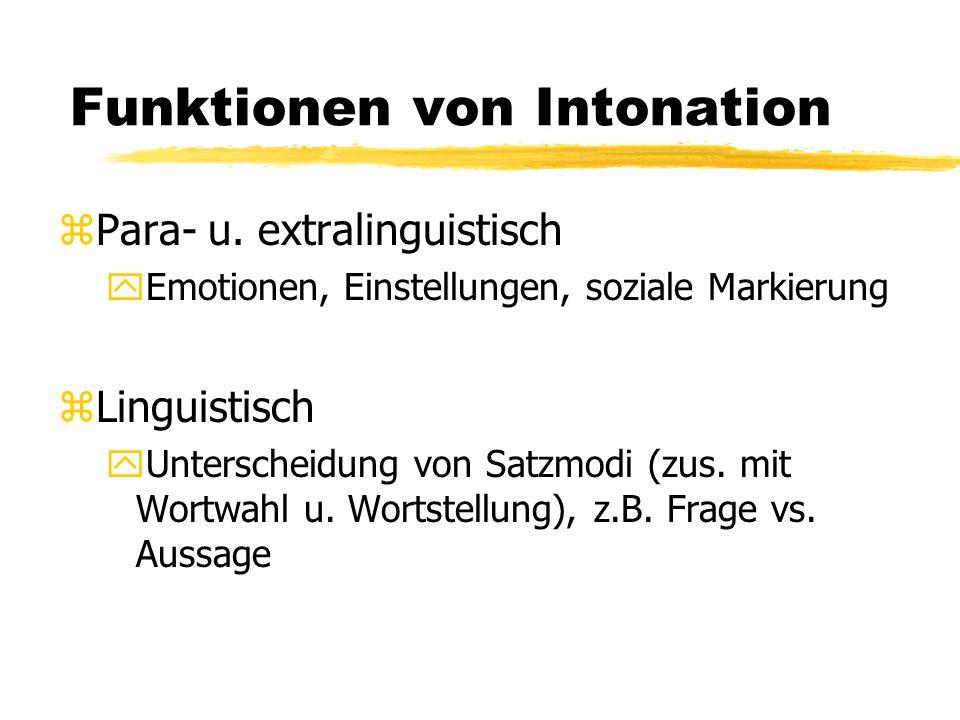 Funktionen von Intonation zPara- u. extralinguistisch yEmotionen, Einstellungen, soziale Markierung zLinguistisch yUnterscheidung von Satzmodi (zus. m